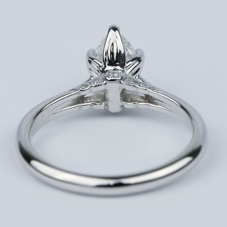 Designer Solitaire Pear Diamond Engagement Ring (0.78 ct.) angle 4