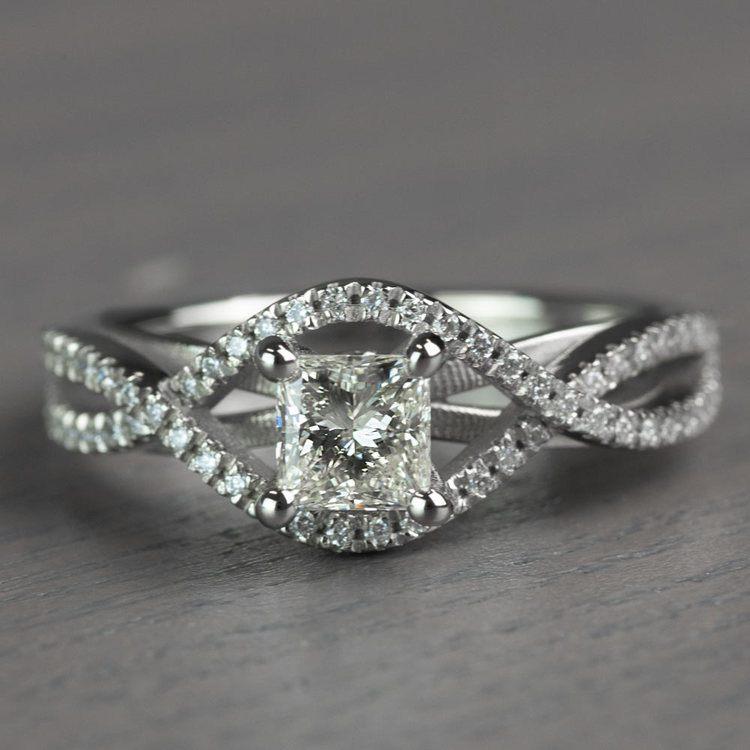 Magnificent Princess Cut Cross Split Shank Diamond Engagement Ring