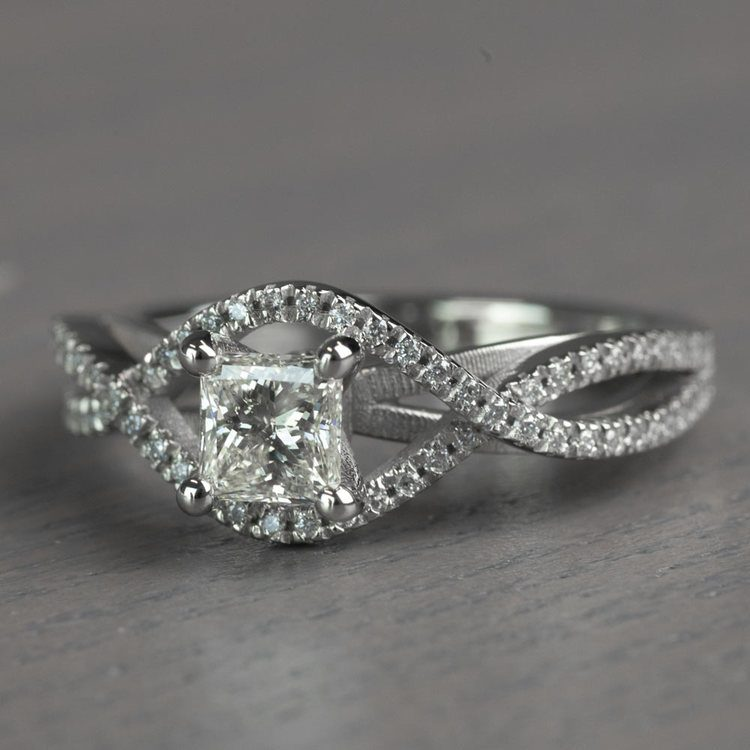 Magnificent Princess Cut Cross Split Shank Diamond Engagement Ring angle 2