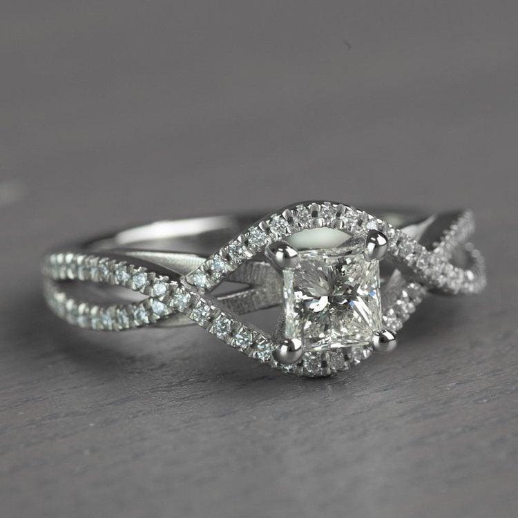 Magnificent Princess Cut Cross Split Shank Diamond Engagement Ring angle 3