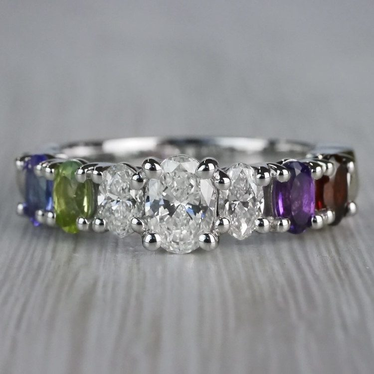 Magnificent Various Gemstones & Oval Diamond Engagement Ring