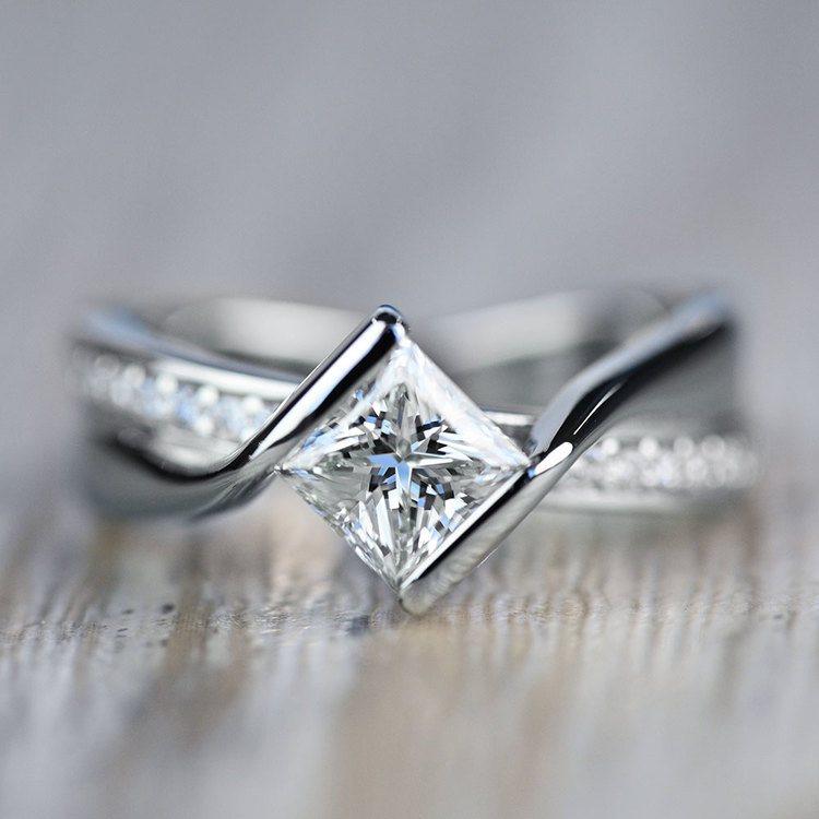 Majestic Princess Bezel Diamond Bridge Engagement Ring