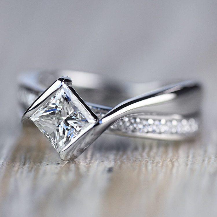 Majestic Princess Bezel Diamond Bridge Engagement Ring angle 3