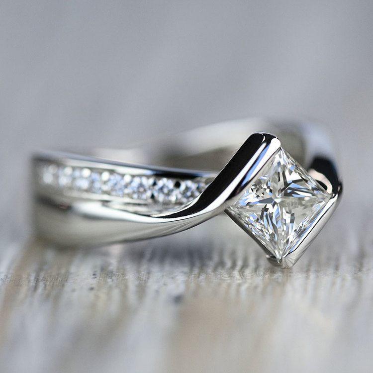 Majestic Princess Bezel Diamond Bridge Engagement Ring angle 2