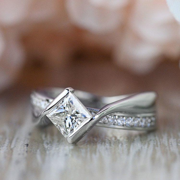 Majestic Princess Bezel Diamond Bridge Engagement Ring angle 5