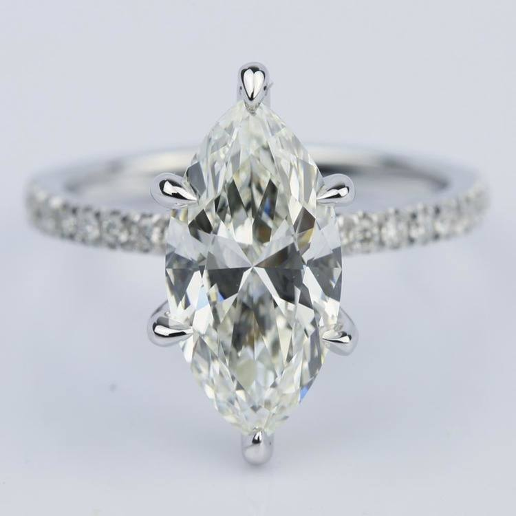Marquise Cut Diamond with Pave Engagement Ring (2.55 ct.)