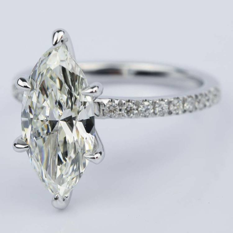 Marquise Cut Diamond with Pave Engagement Ring (2.55 ct.) angle 2