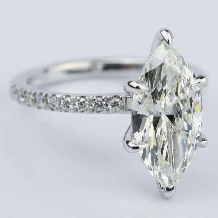 Marquise Cut Diamond with Pave Engagement Ring (2.55 ct.) angle 3