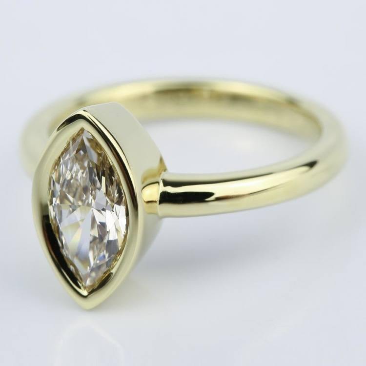 Marquise Diamond Bezel Engagement Ring (1 Carat) angle 2