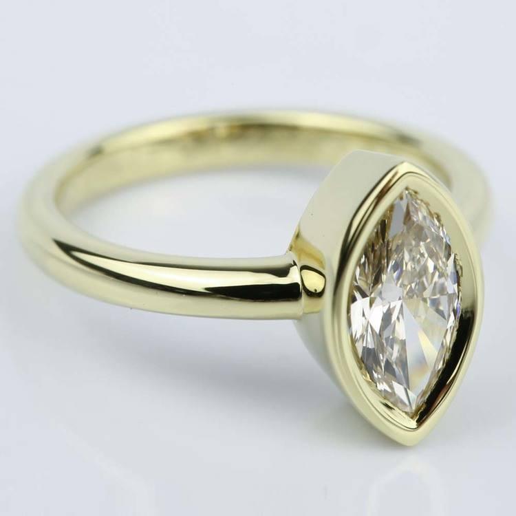 Marquise Diamond Bezel Engagement Ring (1 Carat) angle 3