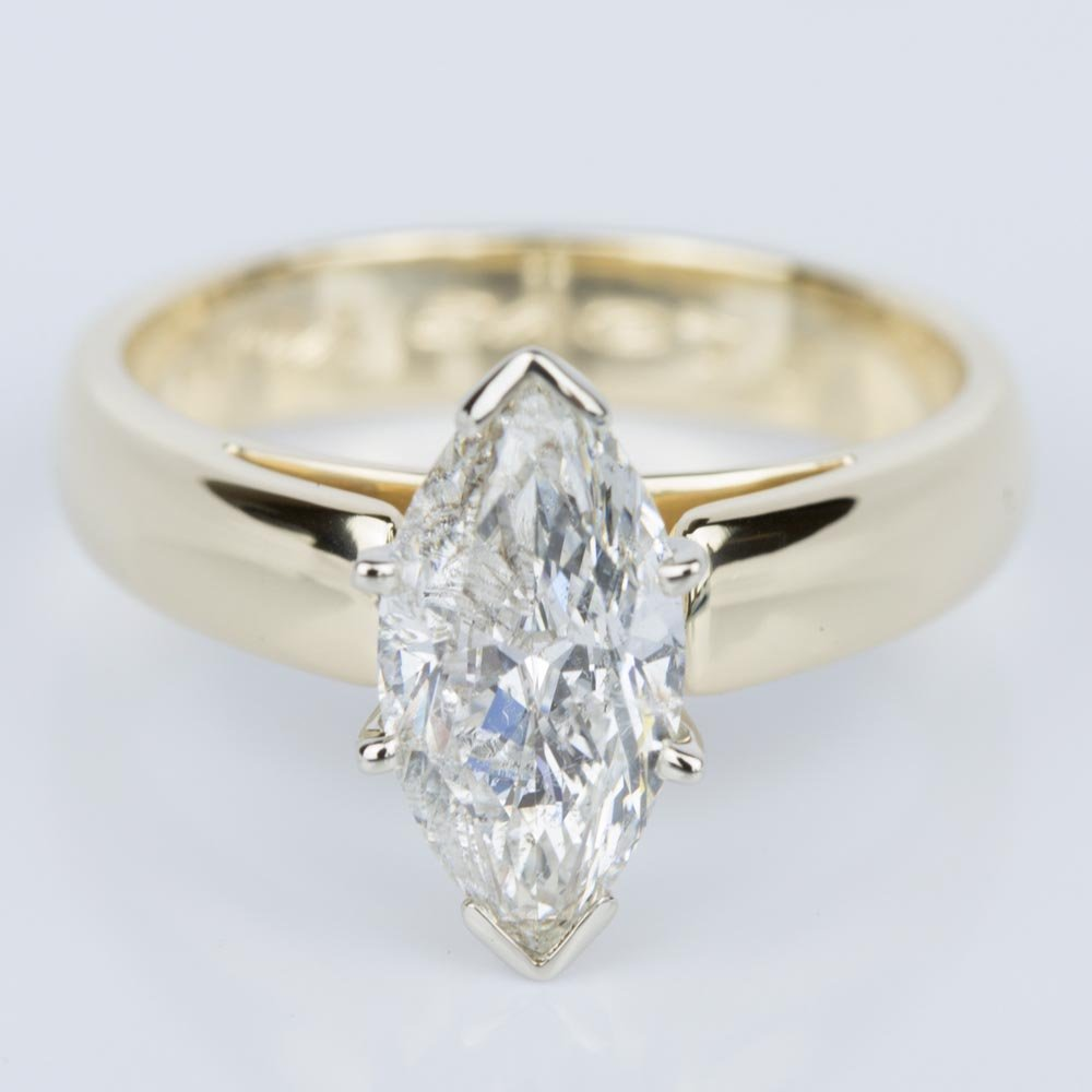 Wedding Diamond Rings: Marquise Diamond Cathedral Engagement Ring In Yellow Gold