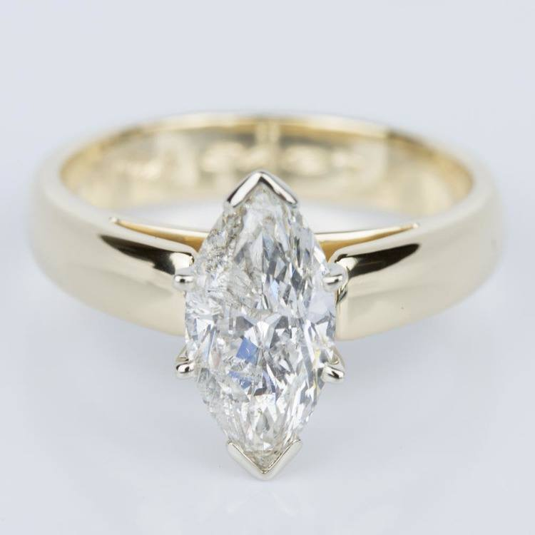 Marquise Diamond Cathedral Engagement Ring in Yellow Gold (1.80 ct.)