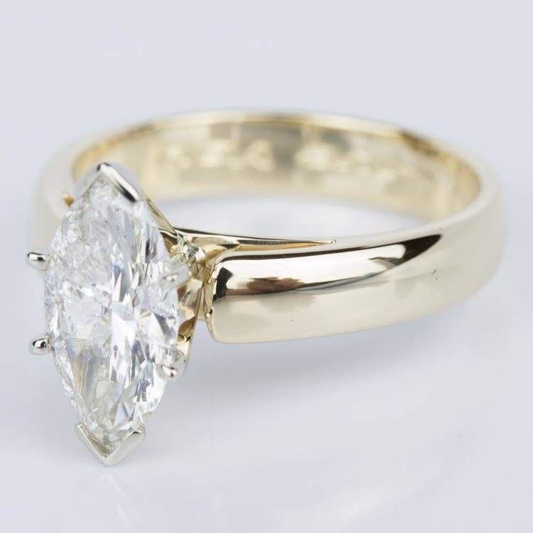 Marquise Diamond Cathedral Engagement Ring in Yellow Gold (1.80 ct.) angle 2