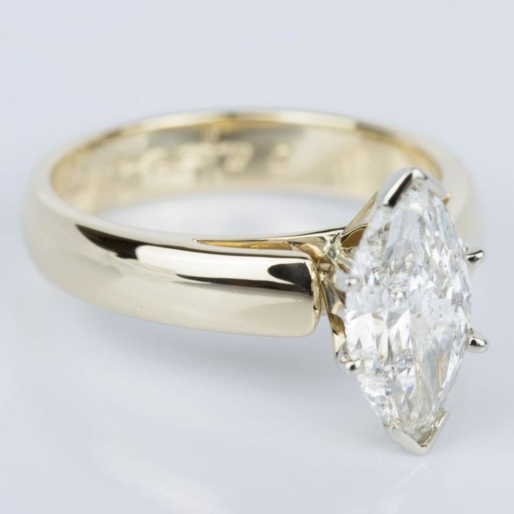 Marquise Diamond Cathedral Engagement Ring in Yellow Gold (1.80 ct.) angle 3