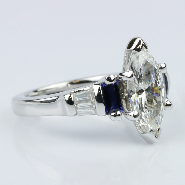 Marquise Diamond and Sapphire Engagement Ring angle 3