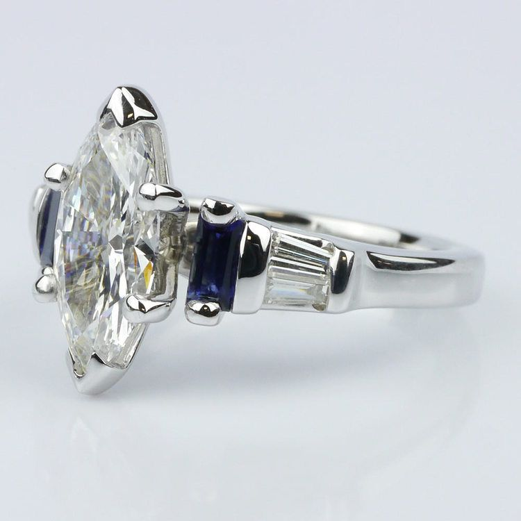 Marquise Diamond and Sapphire Engagement Ring angle 2