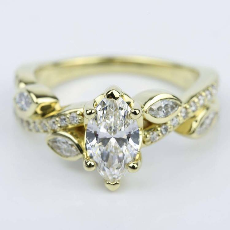 Marquise Diamond Twisted Petal Engagement Ring (0.91 ct.)