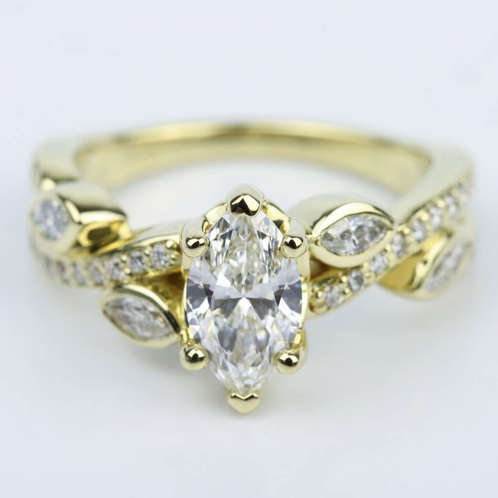 Marquise Diamond Twisted Petal Engagement Ring 0 91 Ct