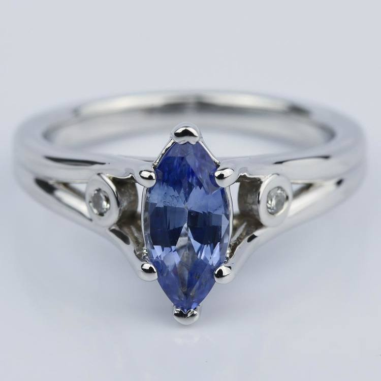 white rings diamond gold solid blue accent engagement ring carat