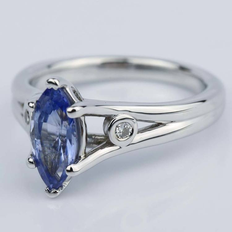 Marquise Sapphire Engagement Ring with Diamond Accents angle 2
