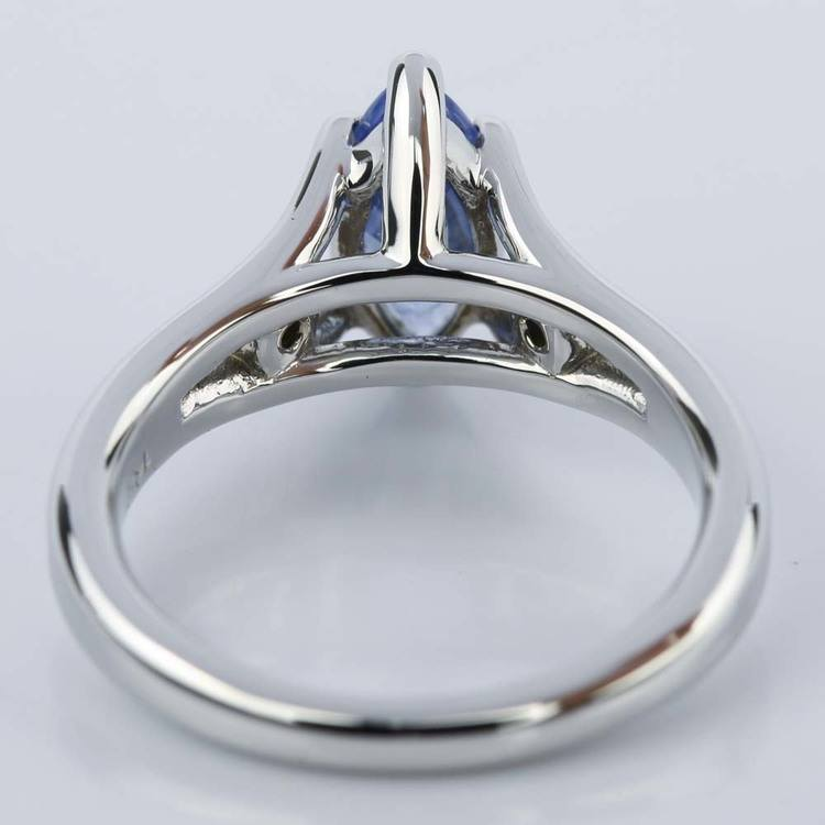 Marquise Sapphire Engagement Ring with Diamond Accents angle 4