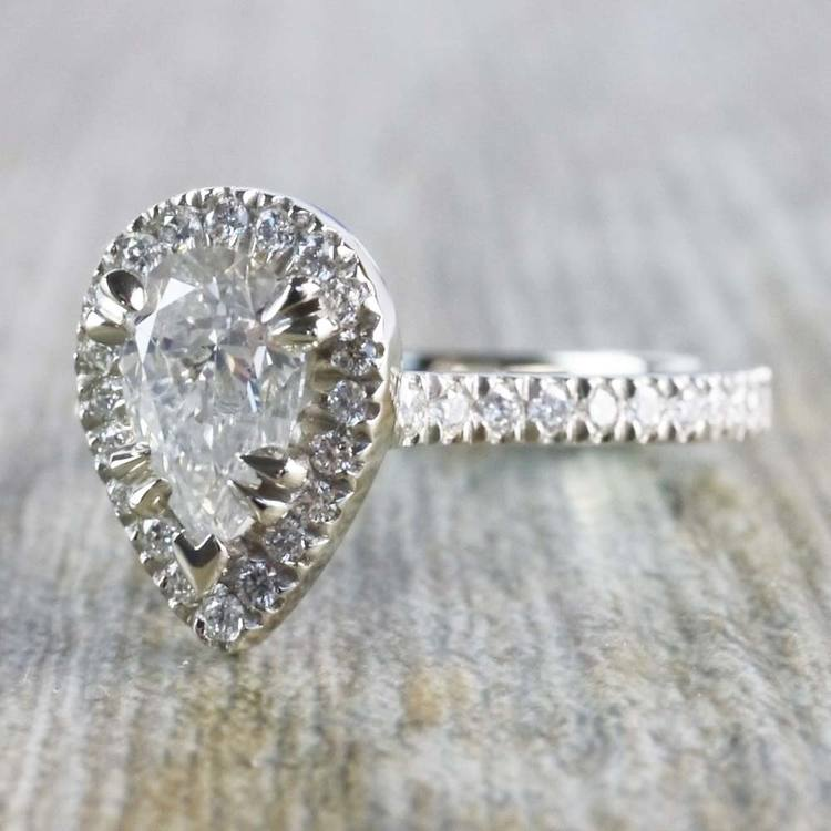 0.90 Carat Pear Diamond Ring With French Pave Diamond Halo angle 2