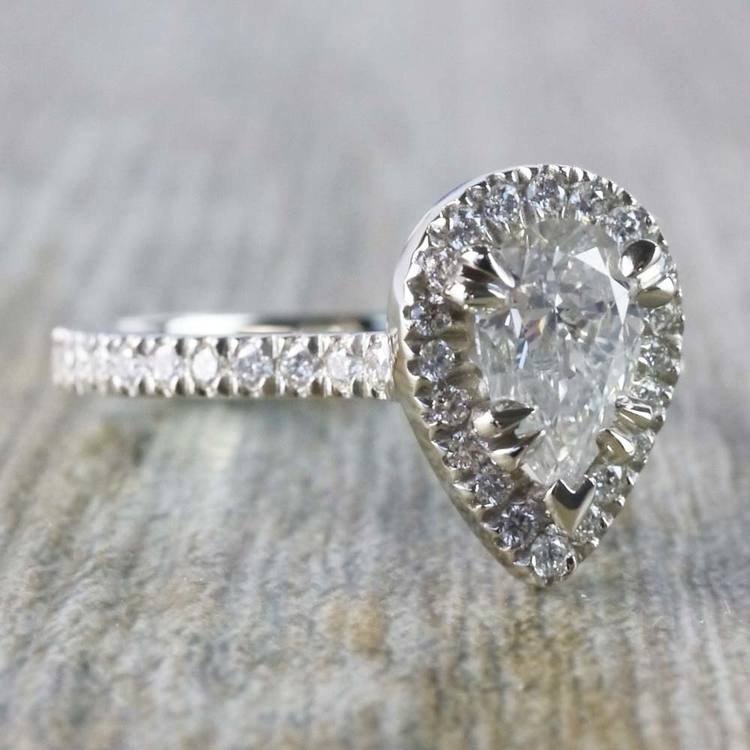 0.90 Carat Pear Diamond Ring With French Pave Diamond Halo angle 3