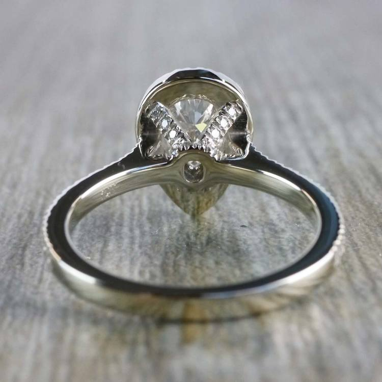 0.90 Carat Pear Diamond Ring With French Pave Diamond Halo angle 4