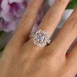 Marvelous Halo & Vintage Emerald Engagement Ring - small angle 6