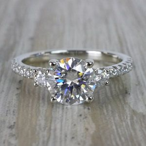 Marvelous Moissanite Three Stone Engagement Ring