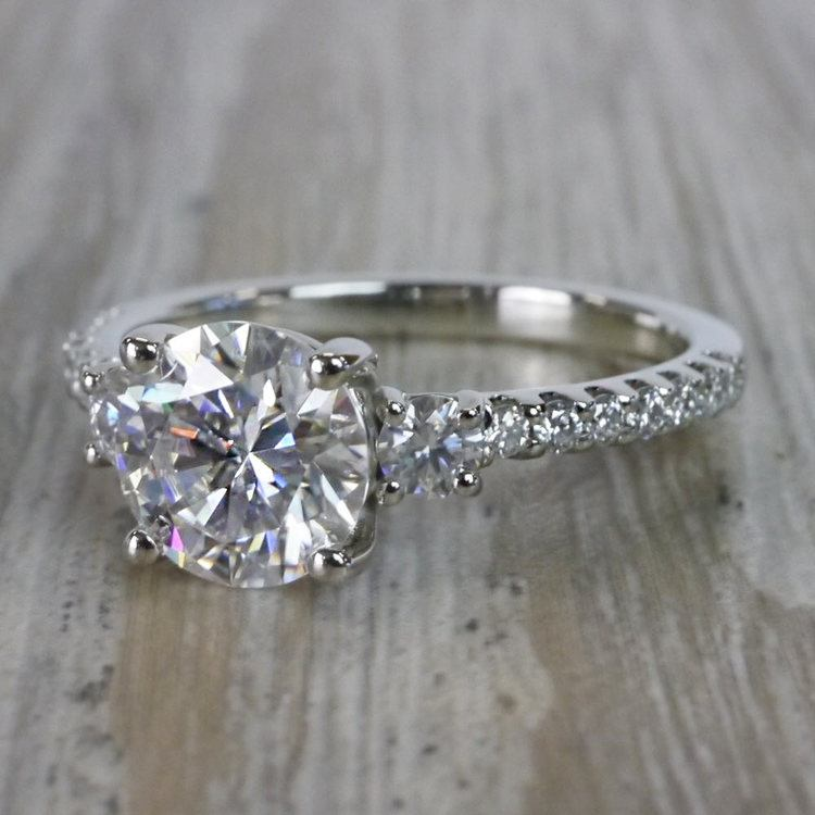 Marvelous Moissanite Three Stone Engagement Ring angle 2