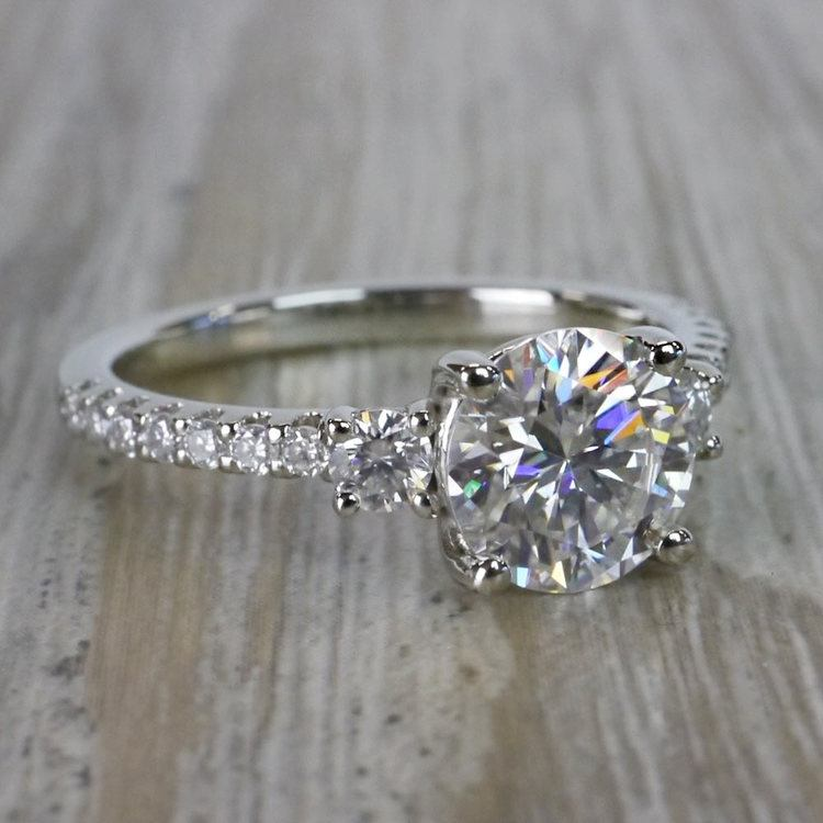 Marvelous Moissanite Three Stone Engagement Ring angle 3