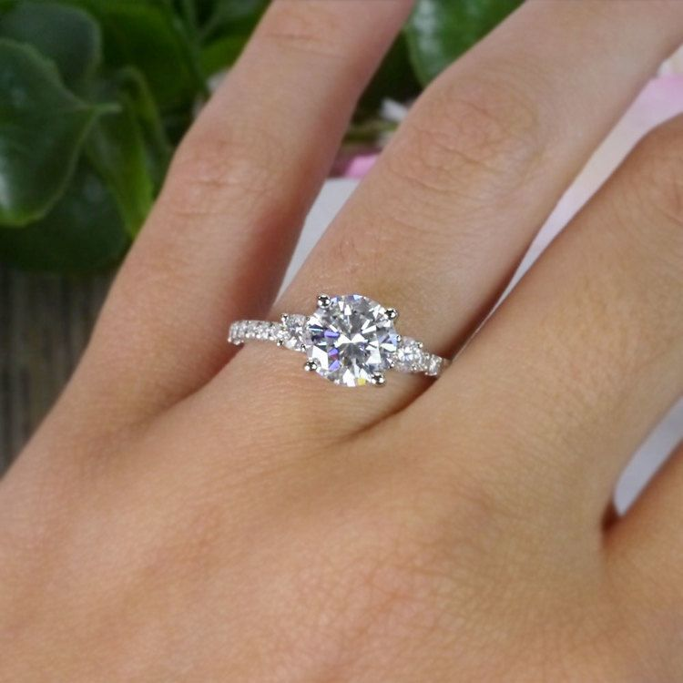 Marvelous Moissanite Three Stone Engagement Ring angle 5