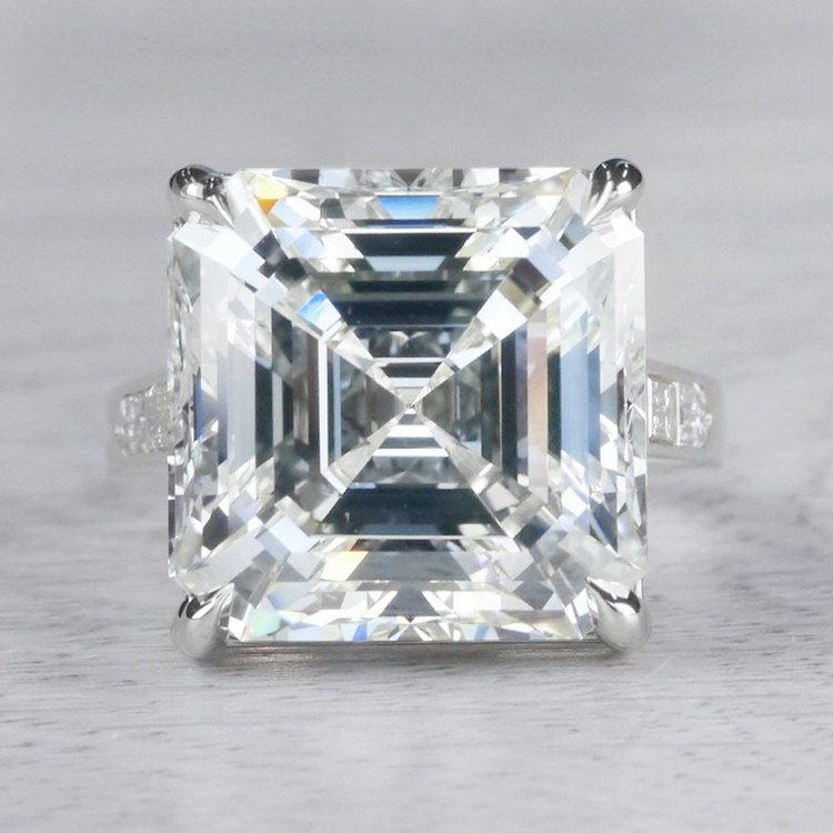 Luxury Custom 16 Carat Asscher Cut Diamond Ring