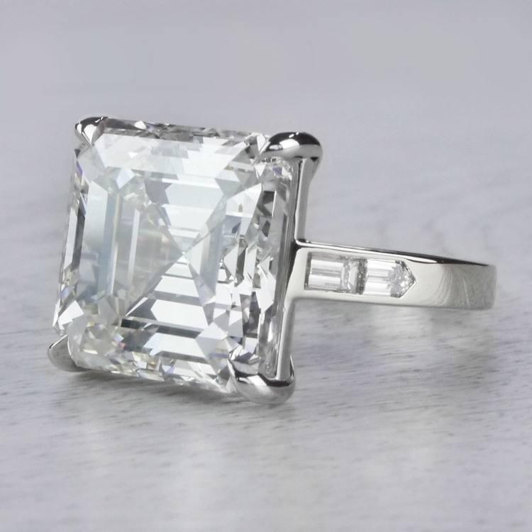 Luxury Custom 16 Carat Asscher Cut Diamond Ring angle 2