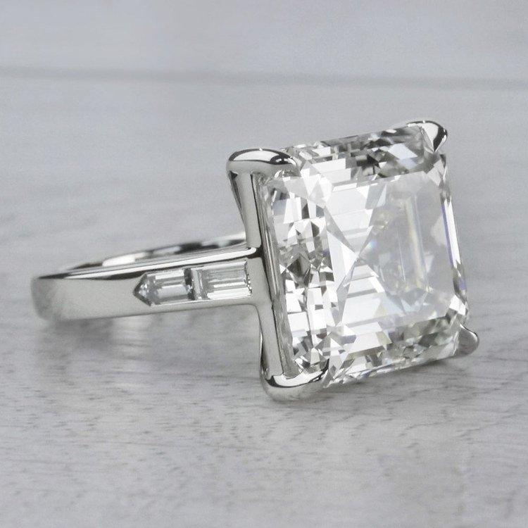 Luxury Custom 16 Carat Asscher Cut Diamond Ring angle 3
