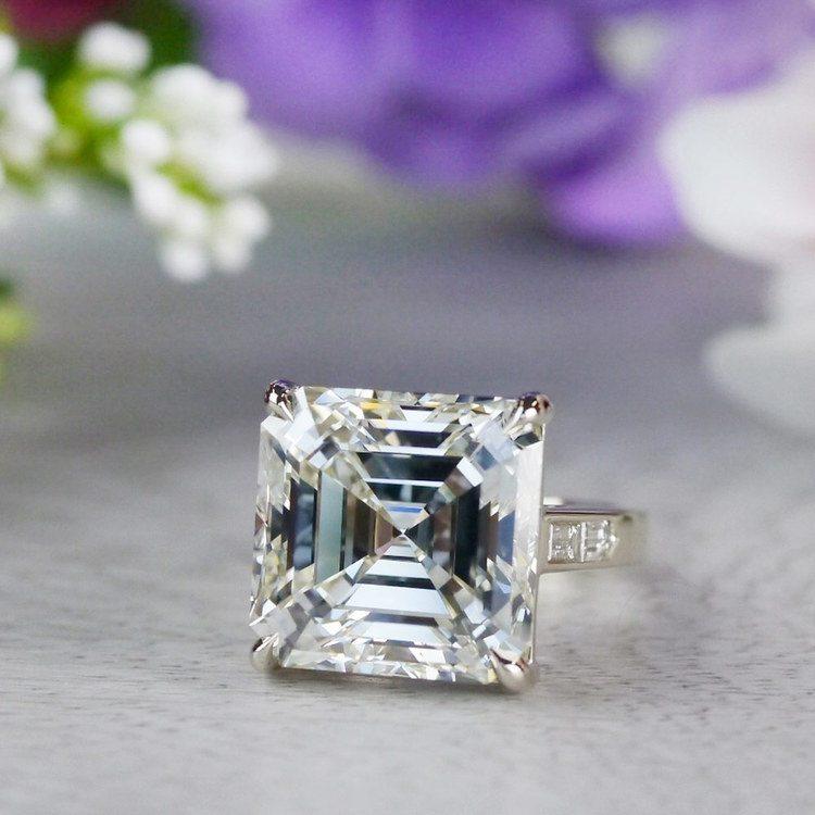 Luxury Custom 16 Carat Asscher Cut Diamond Ring angle 5