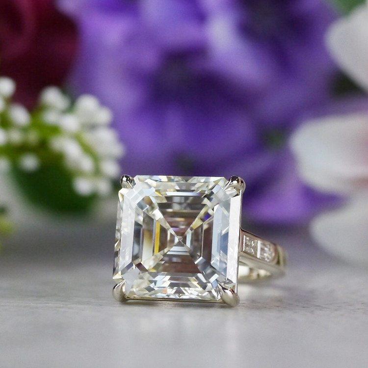 Luxury Custom 16 Carat Asscher Cut Diamond Ring | 06