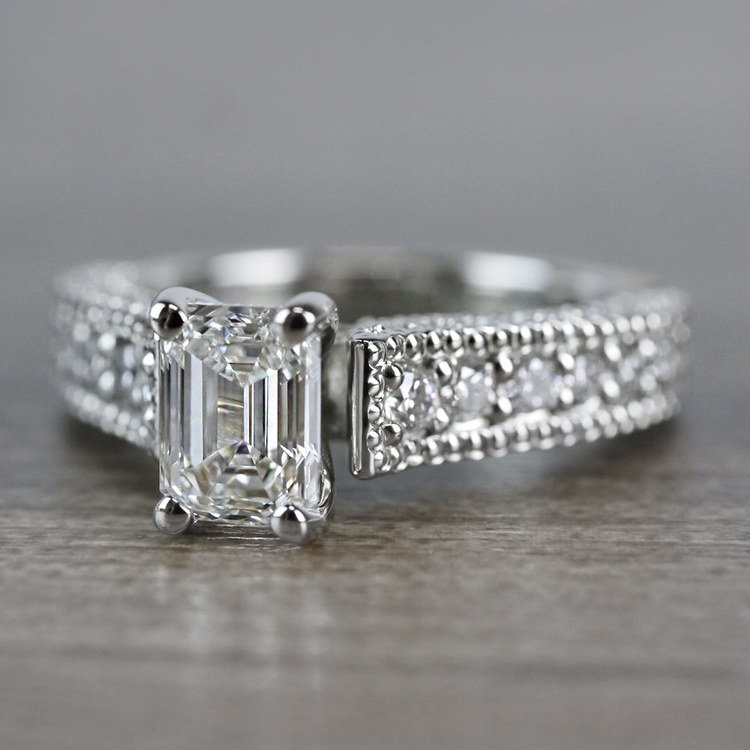 Mesmerizing Emerald Cut Diamond Vintage Engagement Ring angle 2