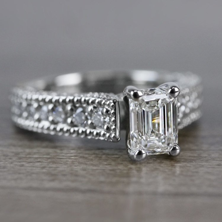 Mesmerizing Emerald Cut Diamond Vintage Engagement Ring angle 3