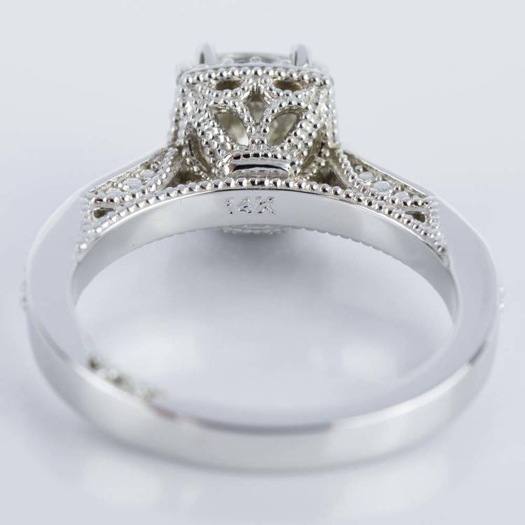 Milgrain Petite Halo Cushion Diamond Engagement Ring in White Gold (1.31 ct.) angle 4