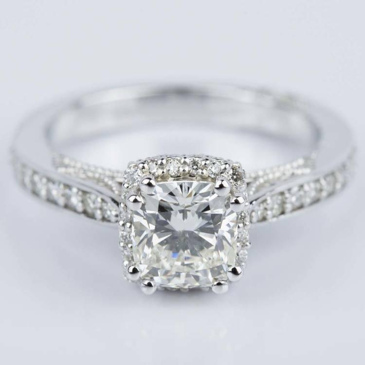 Milgrain Petite Halo Cushion Diamond Engagement Ring in White Gold (1.31 ct.)
