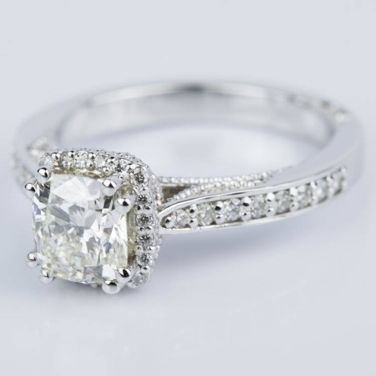 Milgrain Petite Halo Cushion Diamond Engagement Ring in White Gold (1.31 ct.) angle 2