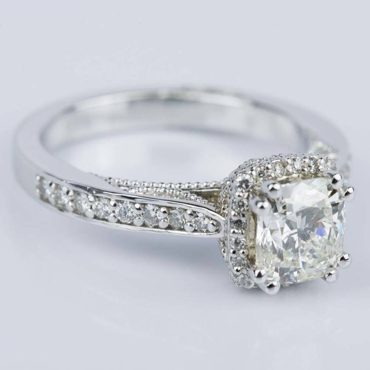 Milgrain Petite Halo Cushion Diamond Engagement Ring in White Gold (1.31 ct.) angle 3
