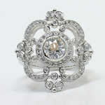Custom Vintage Milgrain 0.90 Carat Round Diamond Engagement Ring - small