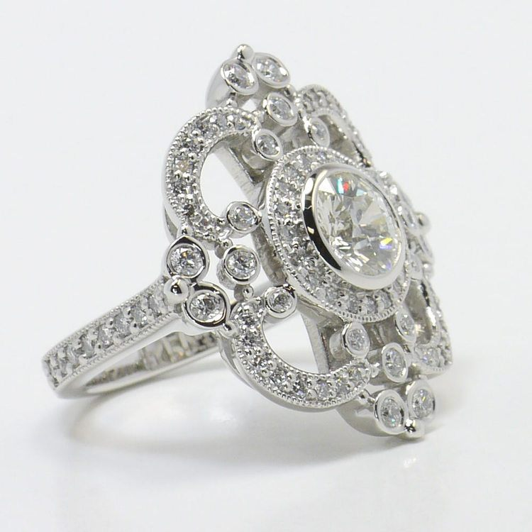 Custom Vintage Milgrain 0.90 Carat Round Diamond Engagement Ring angle 3