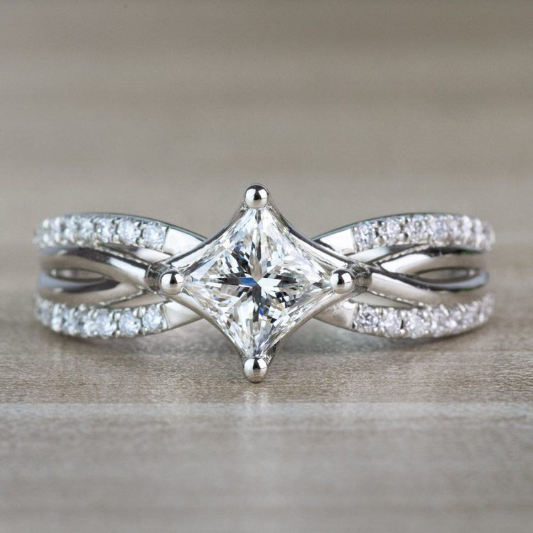 Modern 1.00 Carat Princess Cut Diamond Split Shank Engagement Ring