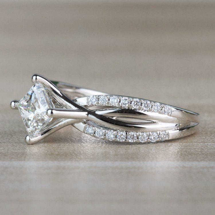 Modern 1.00 Carat Princess Cut Diamond Split Shank Engagement Ring angle 2