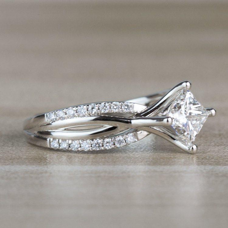 Modern 1.00 Carat Princess Cut Diamond Split Shank Engagement Ring angle 3