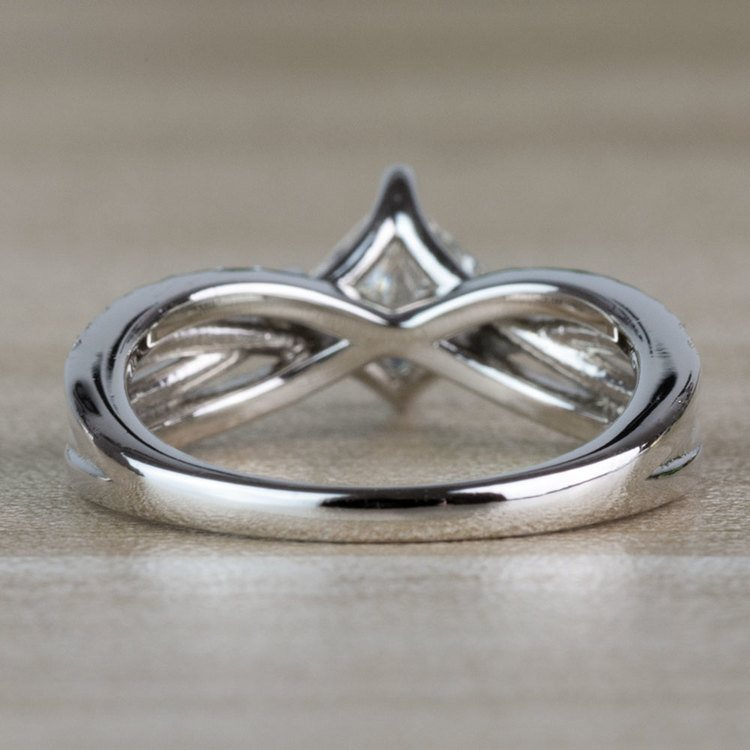 Modern 1.00 Carat Princess Cut Diamond Split Shank Engagement Ring angle 4